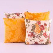 Kit c/ 4 Almofadas Cheias Decorativas Amarelo Estampa Floral 04 Peças c/ Refil