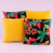 Kit c/ 4 Almofadas Cheias Decorativas Amarelo Estampa Floral Preta 04 Peças c/ Refil