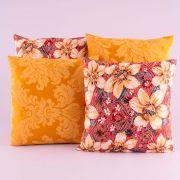 Kit c/ 4 Almofadas Cheias Decorativas Amarelo/Vermelho Floral 04 Peças c/ Refil
