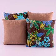 Kit c/ 4 Almofadas Cheias Decorativas Caqui/Tabaco Floral 04 Peças c/ Refil