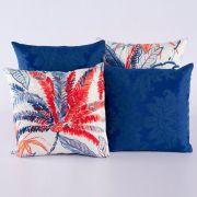 Kit c/ 4 Almofadas Cheias Decorativas Coqueiro Azul/Vermelho