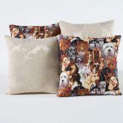 Kit c/ 4 Almofadas Cheias Decorativas Dogs Palha 04 Peças c/ Refil