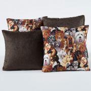 Kit c/ 4 Almofadas Cheias Decorativas Dogs Tabaco 04 Peças c/ Refil