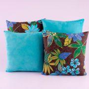 Kit c/ 4 Almofadas Cheias Decorativas Floral Azul Celeste 04 Peças c/ Refil