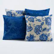Kit c/ 4 Almofadas Cheias Decorativas Floral Azul/Cinza 04 Peças c/ Refil
