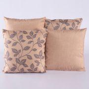Kit c/ 4 Almofadas Cheias Decorativas Floral Bege/Cinza