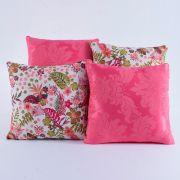 Kit c/ 4 Almofadas Cheias Decorativas Floral Pink 04 Peças c/ Refil