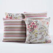 Kit c/ 4 Almofadas Cheias Decorativas Floral Rosê Listrado 04 Peças c/ Refil