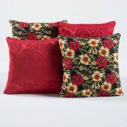 Kit c/ 4 Almofadas Cheias Decorativas Floral Vermelho/Colorido 04 Peças c/ Refil