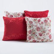 Kit c/ 4 Almofadas Cheias Decorativas Flores Vermelhas 04 Peças c/ Refil