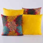 Kit c/ 4 Almofadas Cheias Decorativas Folhas Vermelho/Amarelo