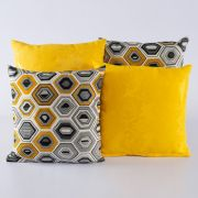 Kit c/ 4 Almofadas Cheias Decorativas Geométrico Amarelo