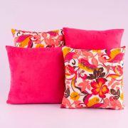 Kit c/ 4 Almofadas Cheias Decorativas Pink Floral Colorido 04 Peças c/ Refil