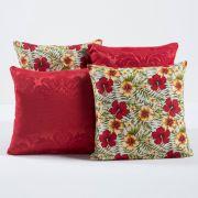Kit c/ 4 Almofadas Cheias Decorativas Vermelho Floral 04 Peças c/ Refil