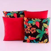 Kit c/ 4 Almofadas Cheias Decorativas Vermelho/Preto Floral 04 Peças c/ Refil