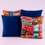 Kit c/ 4 Almofadas Cheias Decorativas Vintage Azul Royal 04 Peças c/ Refil
