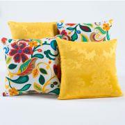 Kit Capas de Almofadas Decorativas Amarelo Floral Colorido 04 Peças