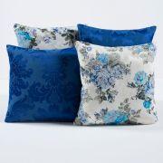 Kit Capas de Almofadas Decorativas Floral Azul/Branco 04 Peças