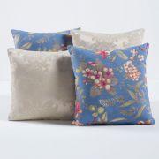 Kit Capas de Almofadas Decorativas Floral Palha/Azul 04 Peças