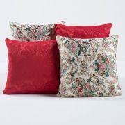 Kit Capas de Almofadas Decorativas Floral Vermelho 04 Peças