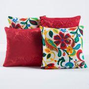Kit Capas de Almofadas Decorativas Floral Vermelho/Branco 04 Peças
