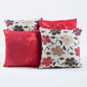 Kit Capas de Almofadas Decorativas Floral Vermelho/Tabaco 04 Peças