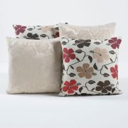 Kit Capas de Almofadas Decorativas Palha/Floral Tabaco 04 Peças