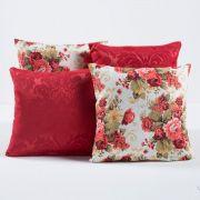 Kit Capas de Almofadas Decorativas Vermelho Florido 04 Peças