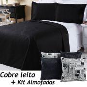 Kit Cobre Leito c/ 4 Almofadas Cheias Dual Color Preto/Branco Jornal Dupla Face Solteiro 06 Peças