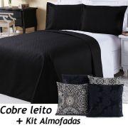 Kit Cobre Leito c/ 4 Almofadas Cheias Dual Color Preto/Branco Mandala Dupla Face Solteiro 06 Peças