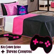 Kit Cobre Leito c/ Tapete Game Girl Dupla Face Preto/Pink c/ Almofada Solteiro 05 Peças
