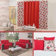 Kit Decoração p/ Sala Cortina + Protetor + Almofadas Vermelho/Floral 07 Peças