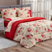 Kit Edredom Forest Floral Vermelho King Micropercal 200 Fios Dupla Face 03 Peças