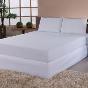 Kit Impermeável Completo Protetor e Fronhas Branco Casal 03 Peças
