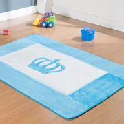 Passadeira Infantil Premium Coroa Real Azul Turquesa 1,20m x 74cm