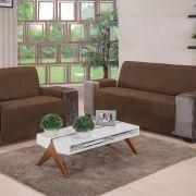 Protetor De Sofa 2 e 3 Lugares Elegance Tabaco 02 Peças