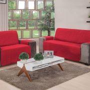 Protetor De Sofa 2 e 3 Lugares Elegance Vermelho 02 Peças