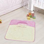 Tapete Infantil Premium Baby Formato Bebê Cheguei Rosa 68cm x 48cm