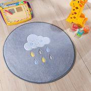 Tapete Infantil Premium Baby Formato Chuva de Benção Cinza Azul 65ø cm