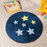 Tapete Infantil Premium Baby Formato Estrela Azul Marinho 65cm ø
