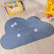 Tapete Infantil Premium Baby Formato Nuvem Cinza Rosa 82cm x 52cm