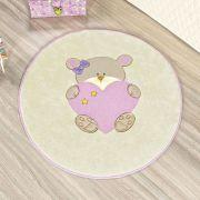 Tapete Infantil Premium Baby Formato Ursinha Bebê Rosa 78cm x 68cm