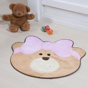Tapete Infantil Premium Baby Formato Ursinha Laço Lilás 75cm x 62cm