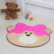 Tapete Infantil Premium Baby Formato Ursinha Laço Pink 75cm x 62cm