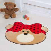Tapete Infantil Premium Baby Formato Ursinha Laço Vermelho 75cm x 62cm