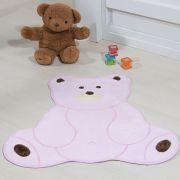 Tapete Infantil Premium Baby Formato Urso Fofo Rosa 74cm x 70cm
