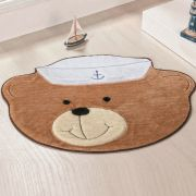 Tapete Infantil Premium Baby Formato Urso-Marinheiro Bege 78cm x 58cm