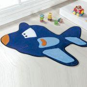 Tapete Infantil Premium Formato Avião Azul Royal 98cm x 68cm