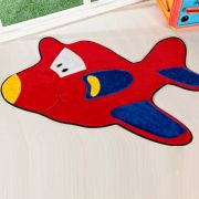 Tapete Infantil Premium Formato Avião Vermelho 98cm x 68cm