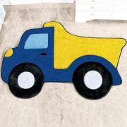 Tapete Infantil Premium Formato Caminhão Caçamba Azul Royal 87cm x 58cm